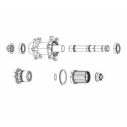 Zipp ZR1 Rear Hub Disc Brake 12x142mm Axle End Cap Set - XDR - 11SP